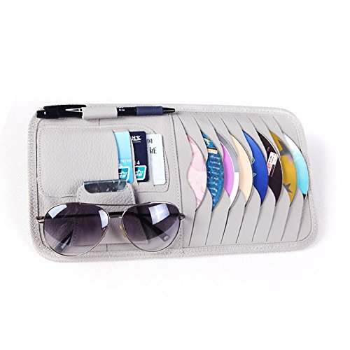 Car Sun Visor Sunshade CD DVD VCD Disc Sleeve Wallet PU Leather Storage Case Holder with Glasses and Cards Organizer Clips Grey Color (Visor Cd Organizer)