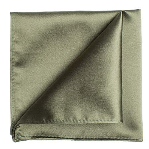 KissTies Olive Green Pocket Square Mens Satin Handkerchief + Gift Box ()
