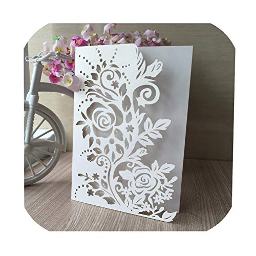 20Pcs/Lot Laser Cut Pearl Paper Flower Wedding Invitations Elegant Wedding Invitations Cards Greeting Card Event Party Supplies,Black from Old street