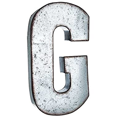 Huge 20  Metal Alphabet Wall Décor Letter G Rusted Edge Galvanized Metal