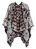 Women's Vintage Pattern Open Front Poncho Cape Shawl (Series 4-Grey)