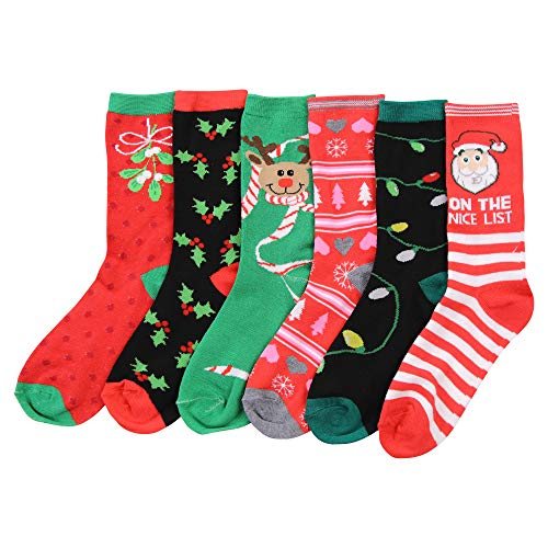 Womens Fun and Colorful Crew Sock 6 Packs (Christmas 2), One Size
