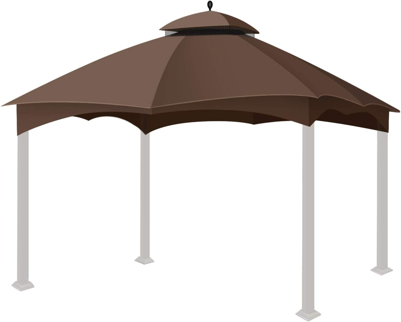 Flexzion Gazebo Replacement Canopy Top Tent for Lowe's Home Depot Allen & Roth 10 X 12 Feet UV UPF 50+ Dual Tier Plain Edge Water-Resistant Cover Shade Outdoor Garden Backyard Patio Gazebo (Brown)