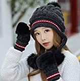 AlexVyan Imported Premium Quality Winter Women Gloves and Cap Combo Soft Warm 1 Set Snow Proof Cap (Inside Fur) Woolen Beanie Cap with Gloves for Women Girl