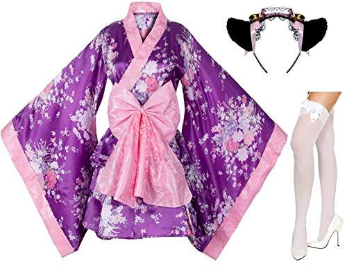 Japanese Anime Lolita Cherry Sakura Flower Printing Kimono Costumes Fancy Dress Maid cat Headband Socks Set(DHF003) Purple -