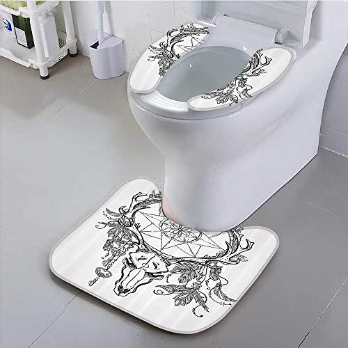 Auraisehome Asiento de Inodoro Universal Atractivo para Mujer con Flores Rosas en el Pelo Cerca de Calavera baño Conveniente...
