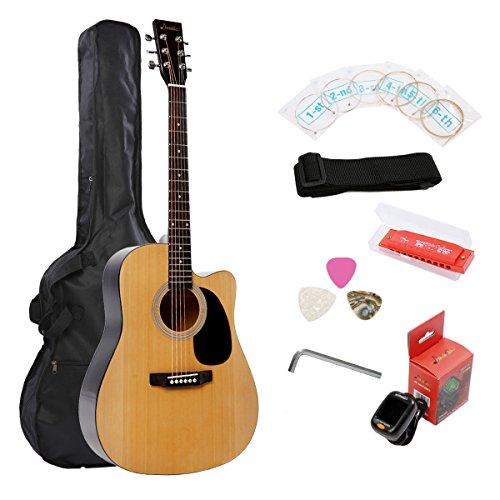 Acoustic Guitar Music 41 Inch Cutaway Starter Guitar Package - Gloss Natural