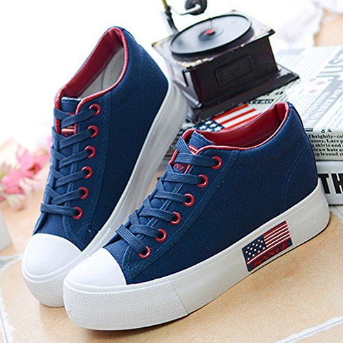 Fashion up Casual Lace Flat Buganda Women Shoes Blue Sneakers 1 Canvas Platform Classic Shoes AZYYwqBI