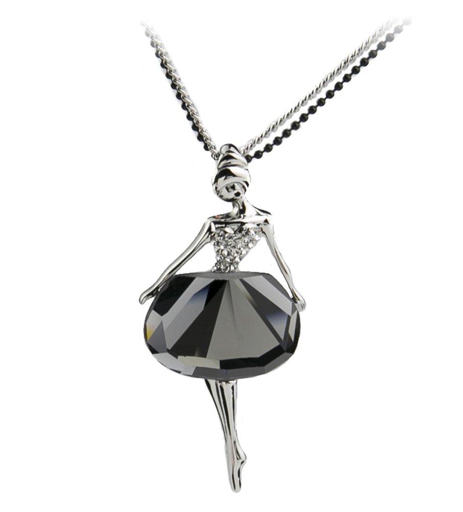 DONGZHOU Party Queen Women's Long Chain Necklace Crystal Beautiful Girl Pendant NL0003TG-KJ