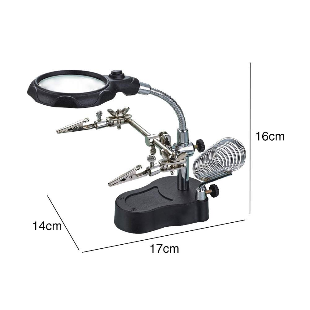 Magnifier LED Light 360 Degree Holder Multifunctional Repair Desktop with Auxiliary Clip Workshop Adjustable Durable Magnifying Glass Soldering Iron Stand Helping Hand