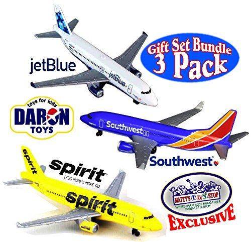 Daron Southwest  Jetblue   Spirit Airlines Die Cast Planes  Mattys Toy Stop  Exclusive Gift Set Bundle   3 Pack