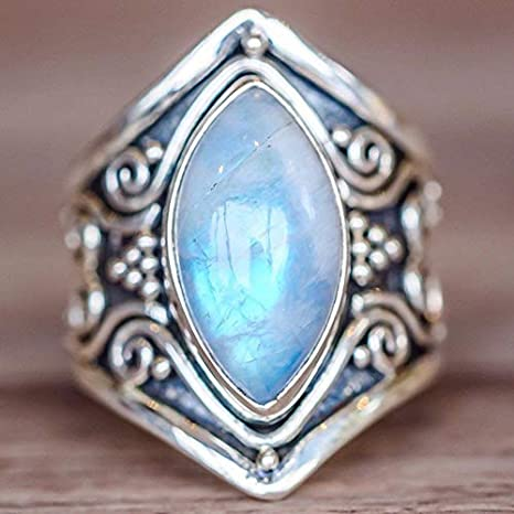 Amazon.com: JEWH Vintage Tibetan Silver Big Healing Crystal Rings for Women - Boho Antique Indian Moonstone Ring - Fine Jewelry Girls Ladies Gifts (9): Arts ...