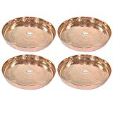 "Set of 4 -Prisha India Craft 100% Pure Copper Dinner Plate - Dia 12""- Traditional Kitchen Special Thali Plate Home Decorative Restaurant Ware Hotel - CHRISTMAS GIFTS"
