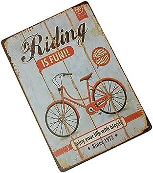 Bluelover Decoración De La Pared Bicicleta Lata Signo Vintage ...