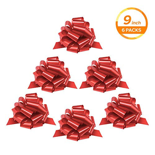 (Zoe Deco Gift Bows, Weather Resistant Gift Bow, Red Pull Bows, Bows for Gifts, Gift Bows for Presents, Gift Wrapping and Decoration (Red, 9