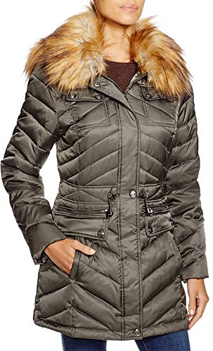 Laundry by Shelli Segal Belted Down & Feather Fill Utility Parka with Faux Fur Trim,Green, Large