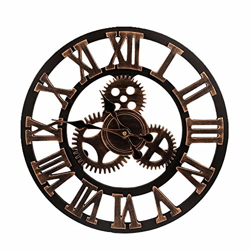 FunnyToday365 Big Clock Wooden Nature Gears Wall Clock Retro Clock Wall Hanging Watches Living Room Decorative