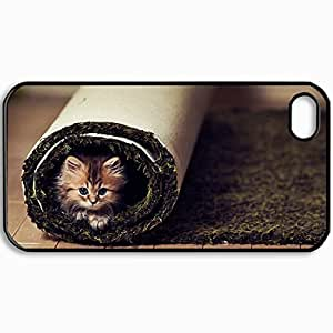 Customized Cellphone Case Back Cover For iPhone 4 4S, Protective Hardshell Case Personalized Cat Fluffy Look Carpet Twisted Black