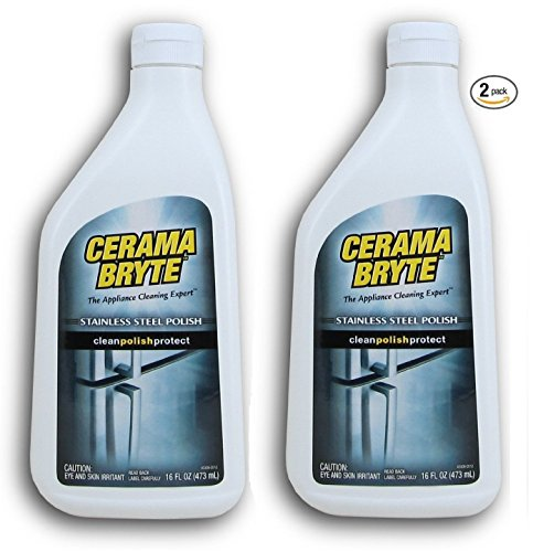 Cerama Bryte - Stainless Steel Cleaning Polish with Mineral Oil, Polishes and Protects Steel Surfaces - 16 oz (2 Pack)
