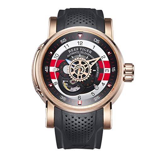 Reef Tiger Sport Automatic Watches Rose Gold Case Rubber Strap Watch RGA30S7 …