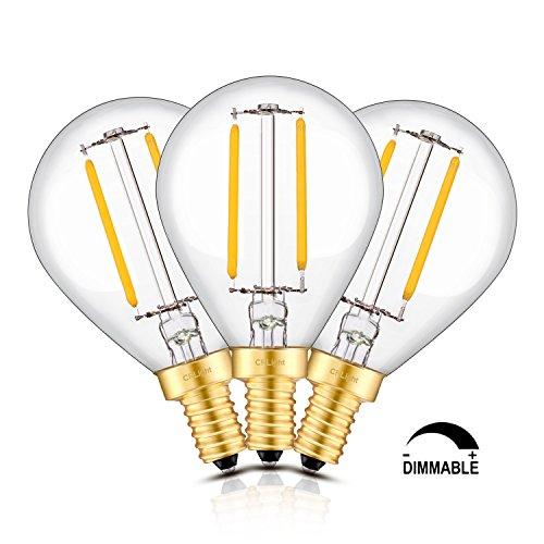 CRLight LED Globe Bulb 2W 2700K Warm White 20W Equivalent, 200LM E12 Candelabra Base Dimmable LED Filament Bulbs, G14(G45) Clear Glass Globe Shape, 360 Degrees Beam Angle, 3 Pack