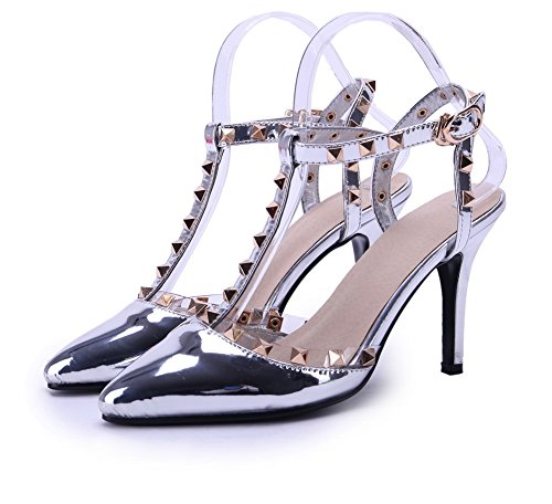 AmoonyFashion Womens Pointed Closed Toe High-Heels Solid Buckle Pumps-Shoes Silver Ogk1Sf