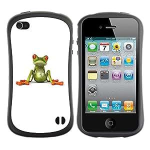 Suave TPU GEL Carcasa Funda Silicona Blando Estuche Caso de protección (para) Apple Iphone 4 / 4S / CECELL Phone case / / Frog White Minimalist Cute Clean Minimalist /