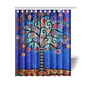 60Width X 72Height Mexican Style Flower Tree Polyester Shower Curtain Waterproof Material Bath