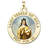 Saint Teresa of Avila Color - Available in Solid 10K And14K Yellow or White Gold, or Sterling Silver