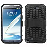 Aloin Defender Tough Hybird Armour Shockproof Hard PC + TPU With Kick Stand Rugged Back Case Cover For Samsung Galaxy Grand Note 2 / 7100 - Black