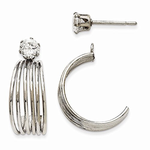 14k White Gold Polished W/cz Stud Earring Jackets, Best Quality Free Gift Box by viStar