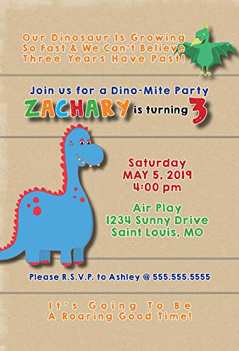 The Melange Market Customized - Dinosaur Birthday Party Invitation ()