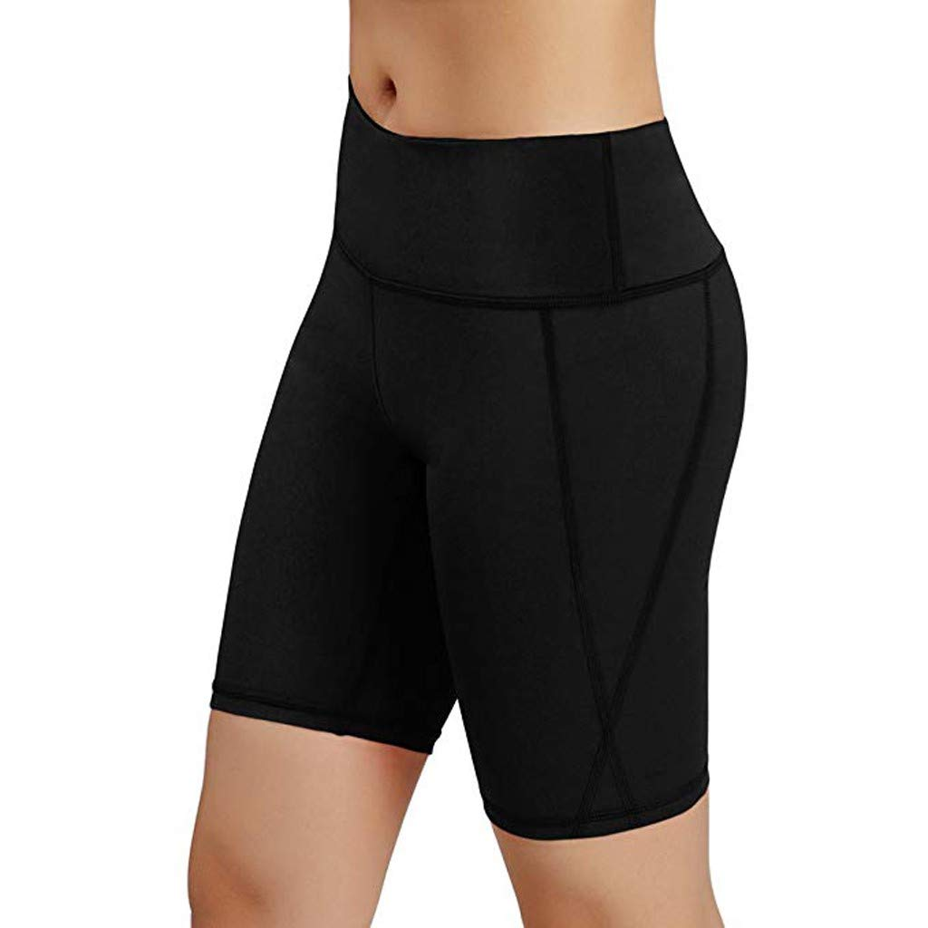 Luckylin High Waist Out Pocket Yoga Short Tummy Control Workout Running Athletic Non See-Through Yoga Shorts