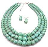 Shineland Elegant Multilayer Strands Crack Turquoise Stone-simulated Pearl Beads Necklace Earrings Set (Style # 1)