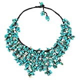 AeraVida Simulated Turquoise-Cultured Freshwater Pearl Waterfall On Cotton Wax Rope Toggle Necklace