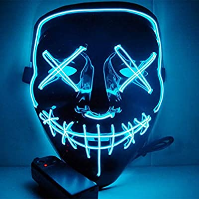 HOLIKE Halloween Purge Mask LED Light up Scary Glowing Mask for Festival Cosplay Halloween Costume