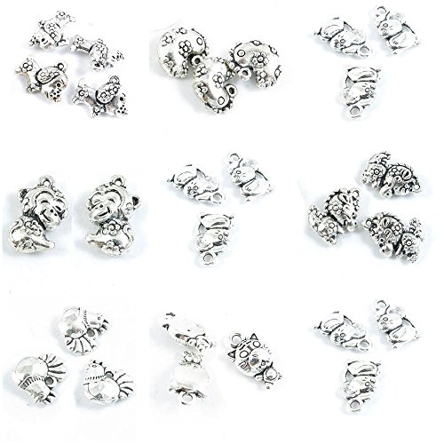 27 Pieces Antique Silver Tone Jewelry Making Charms Mouse Rat Chinese Zodiac Tiger Chicken Dragon Monkey Pig ()