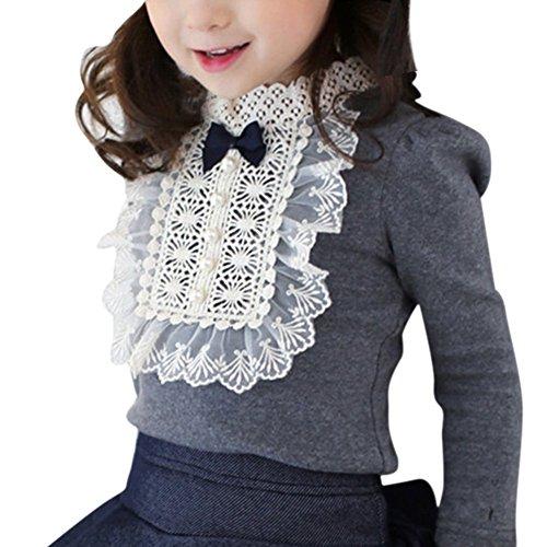 Zhengpin Elegant Baby Kids Girls Bowknot Cotton Lace Long Sleeve Shirt Toddler Blouse Tops Grey