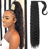 Yepei Hairpieces Clip In Long Curly Wave Ponytail Extension High Pony Tail With Weave Wrap Around Synthetic Hair For Women 26'-Curly Wave Natural Black