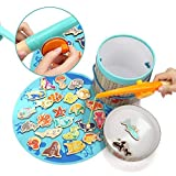 Magnetic Wooden Fishing Games and Puzzles-26 Pieces Wooden Sea Animals with Magnets Toy for Kids Toddler Boys Girls