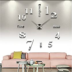 SHZONS trade;Luxury Large Size 3D Mirror Surface Creative Modern Home Decoration Art Clock DIY Wall Clock Watches Hours Wall Sticker(Silver)