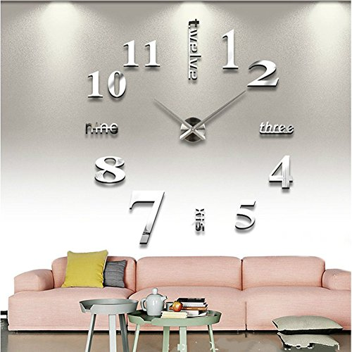 SHZONS™Luxury Large Size 3D Mirror Surface Creative Modern Home Decoration Art Clock DIY Wall Clock Watches Hours Wall Sticker(Silver) (Modern Wall Mirror Art)