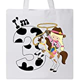 Inktastic - I'm Three-cowgirl riding horse birthday Tote Bag White