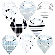 Baby Bandana Drool Bibs for Boys and Girls, 8-Pack Hypoallergenic Absorbent Organic Cotton With Snaps Teething Drooling, Unisex Baby Shower Gift, Newborn Registry Must Haves (Black White monochrome)