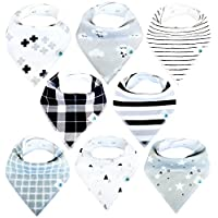 Baby Bandana Drool Bibs for Boys and Girls, 8-Pack Hypoallergenic Absorbent O...