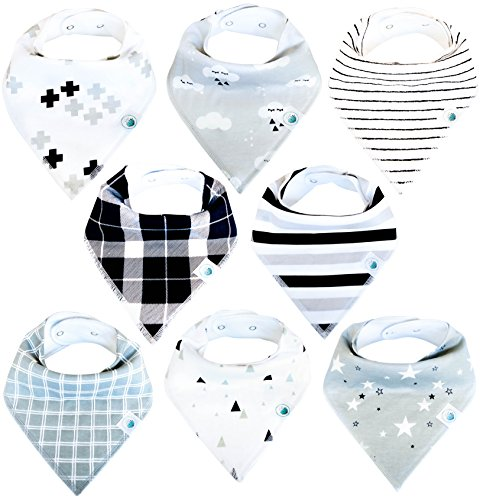 Baby Bandana Drool Bibs for Boys and Girls, 8-Pack Hypoallergenic Absorbent Organic Cotton With Snaps Teething Drooling, Unisex Baby Shower Gift, Newborn Registry Must Haves (Black White monochrome) (Bandana Waterproof)