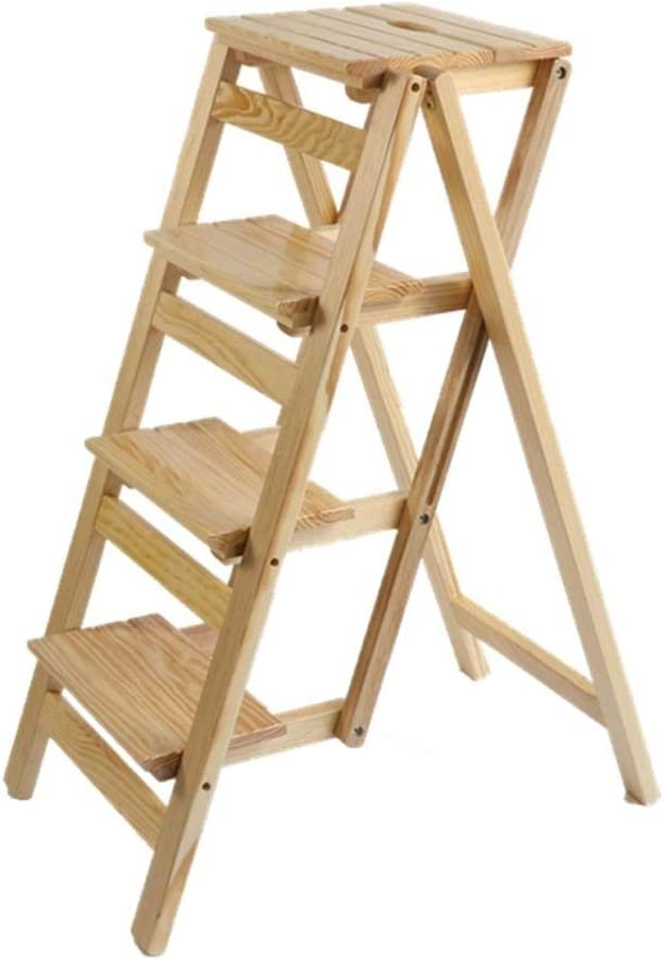 HYYDP Pasos plegables Escalera de madera maciza Taburete Tablas plegables de biblioteca Taburete multifuncional Escalera de estantería de madera de color de madera para escalera de casa Silla con 4 pa: Amazon.es: