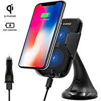 Wireless Car Charging Mount for iPhone Qi Wireless Charging Pad Compatible with iPhone 8 / 8 Plus and iPhone X Fast Wireless Charger for iPhone 8, iPhone 8 Plus and iPhone X - Retail Package (Black)