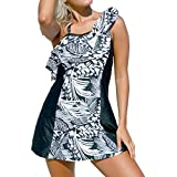 DISSA S410210 Women Blackwhite Tankini Swimsuit,S-UK10