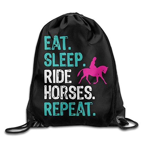 Eat Sleep Ride Horses Repeat Drawstring Pack Beam Mouth Yoga Sackpack Rucksack Shoulder Bags For Men/Women